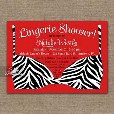 Zebra Lingerie Bridal Shower Invitations
