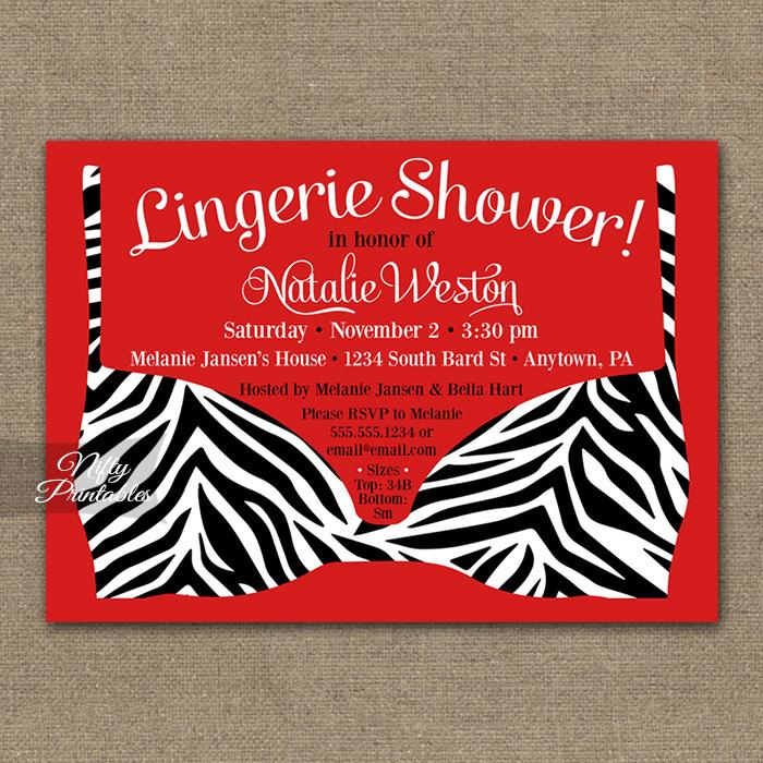 Zebra Lingerie Bridal Shower Invitations