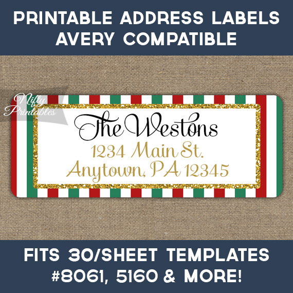 Printable christmas address labels red green gold avery compatible nifty printables for Printable christmas address labels