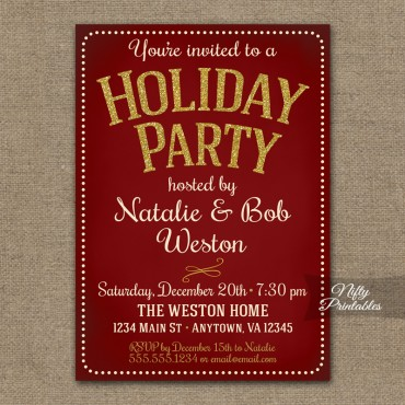 Holiday Party Invitations - Vintage Red