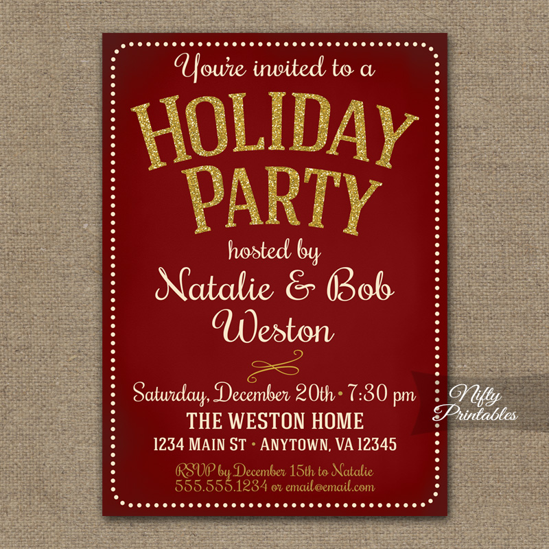 Holiday Party Invitations - Vintage Red - Nifty Printables