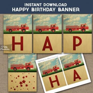 Fire Truck Happy Birthday Banner
