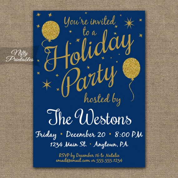 Holiday Party Invitations - Blue Gold Glitter Balloons