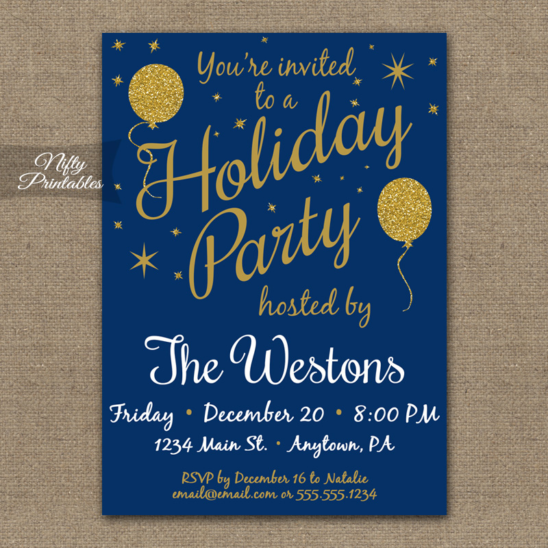 Holiday Party Invitations Blue Gold Glitter Balloons