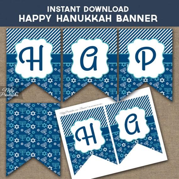 Printable Happy Hanukkah Banner