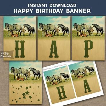 Horses Happy Birthday Banner