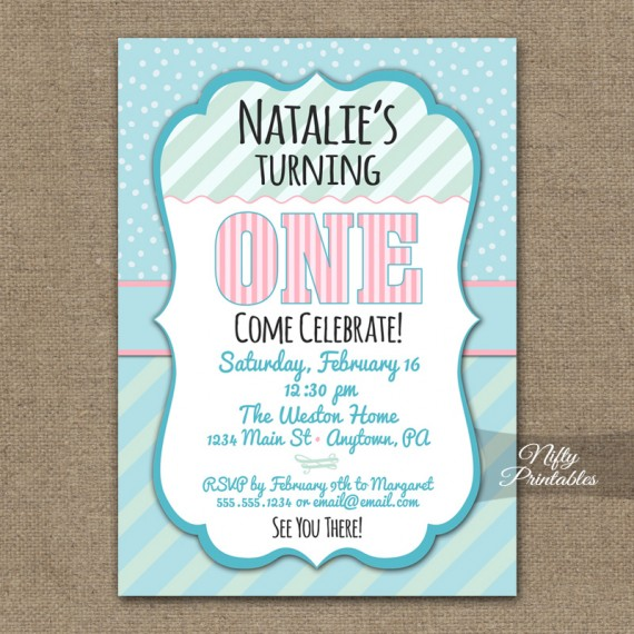 Baby Girl Birthday Invitations - One, Two, Three or Any Age