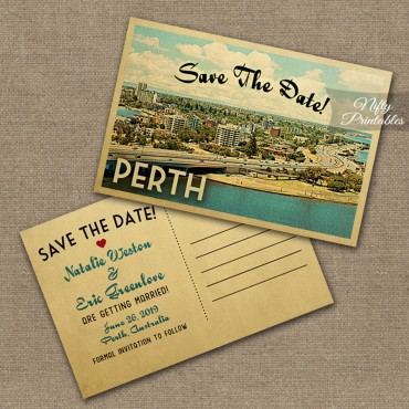 Perth Australia Save The Date Postcards VTW