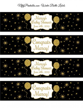 Black Gold Glitter Balloon Printable Water Bottle Labels