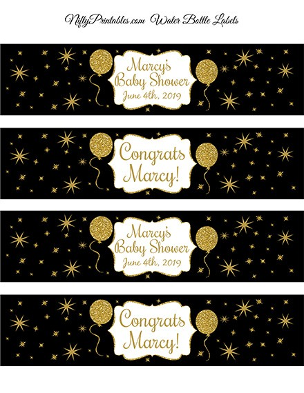 Black Gold Glitter Balloon Printable Water Bottle Labels