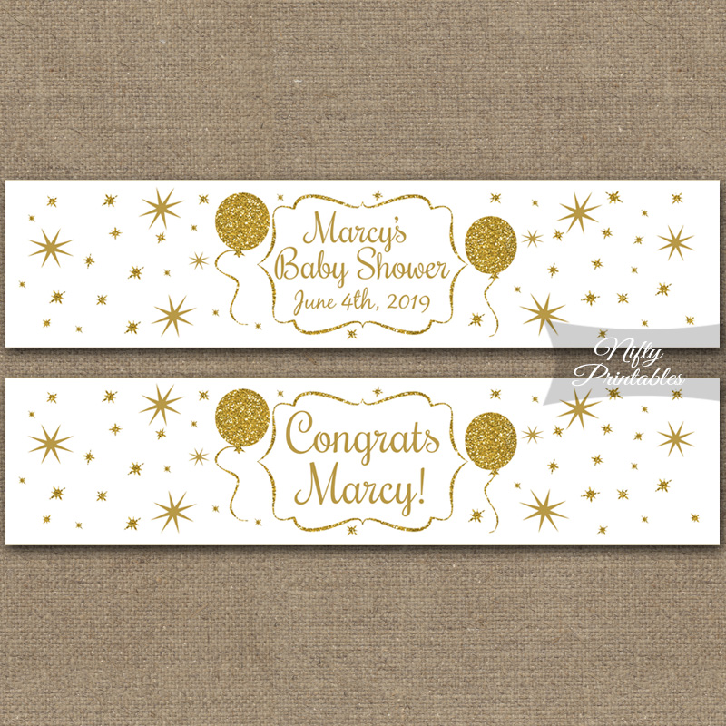 White Glitter Balloon Printable Water Bottle Labels