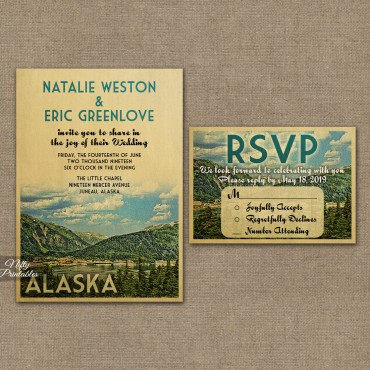 Mountain Wedding Invitations - Alaska or Any Locale VTW