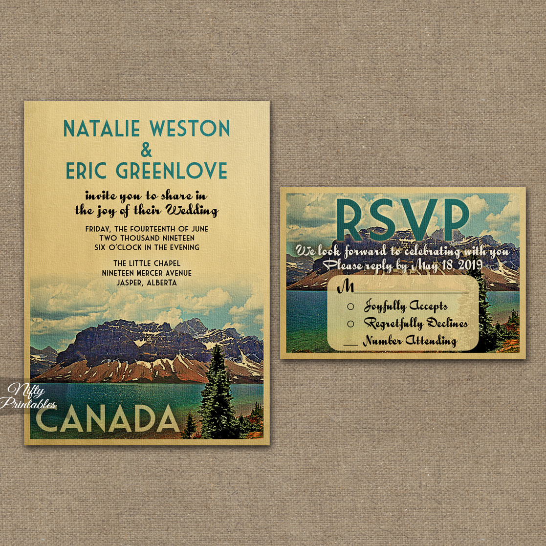 Canada Save The Date Postcards - Jasper National Park VTW