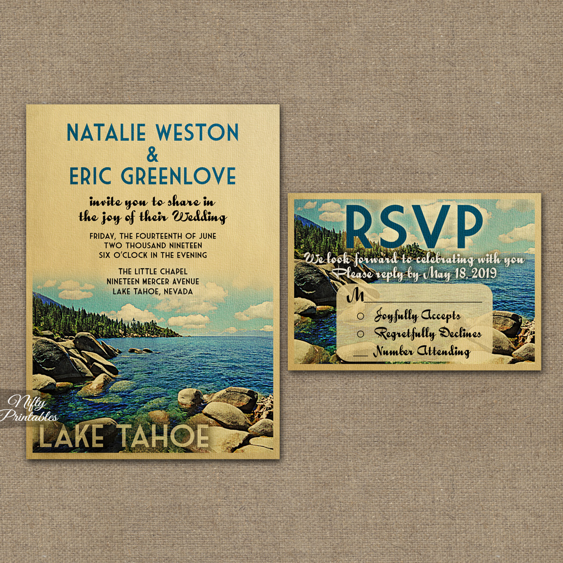 Lake Tahoe Wedding Invitations VTW