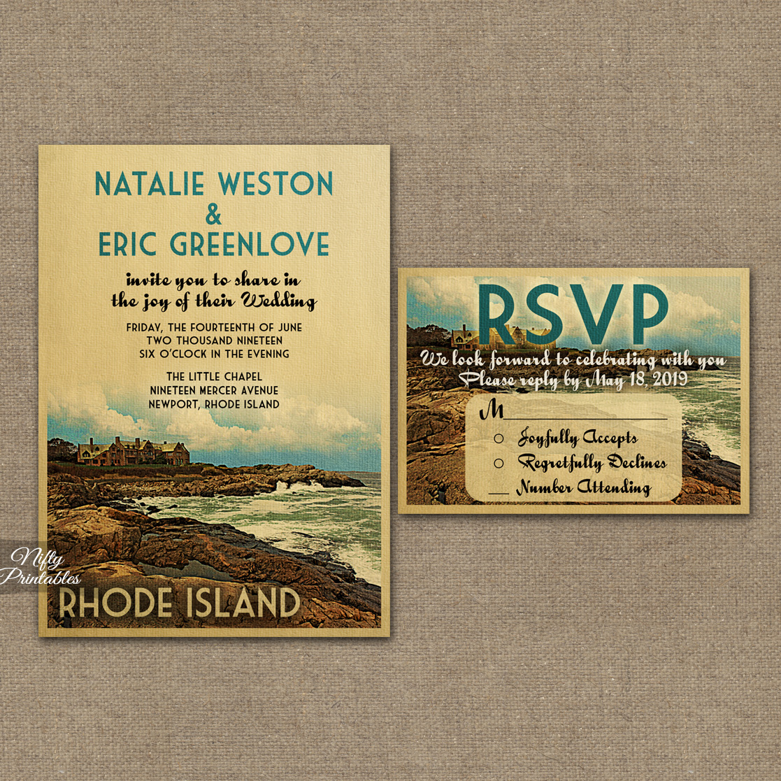 Rhode Island Save The Date Postcards VTW