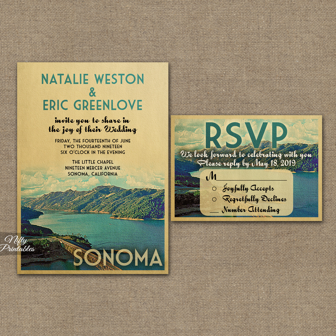 Sonoma Wedding Invitations VTW