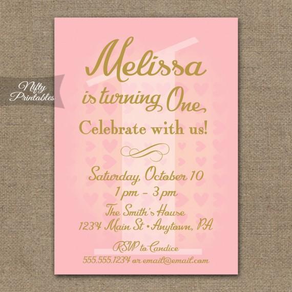 1st Birthday Invitations - Pink & Gold Hearts