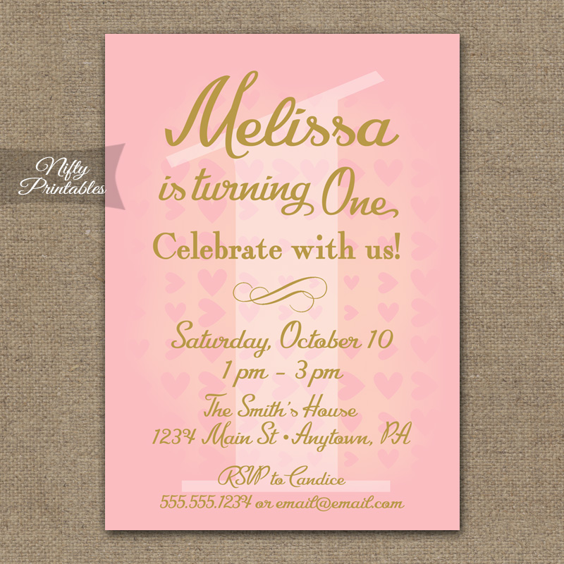 1st Birthday Invitations - Pink & Gold Hearts