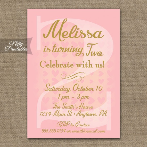 2nd Birthday Invitations - Pink & Gold Hearts