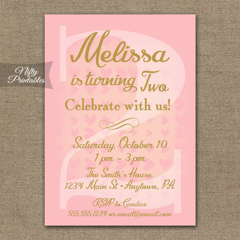 2nd Birthday Invitations - Pink & Gold Hearts