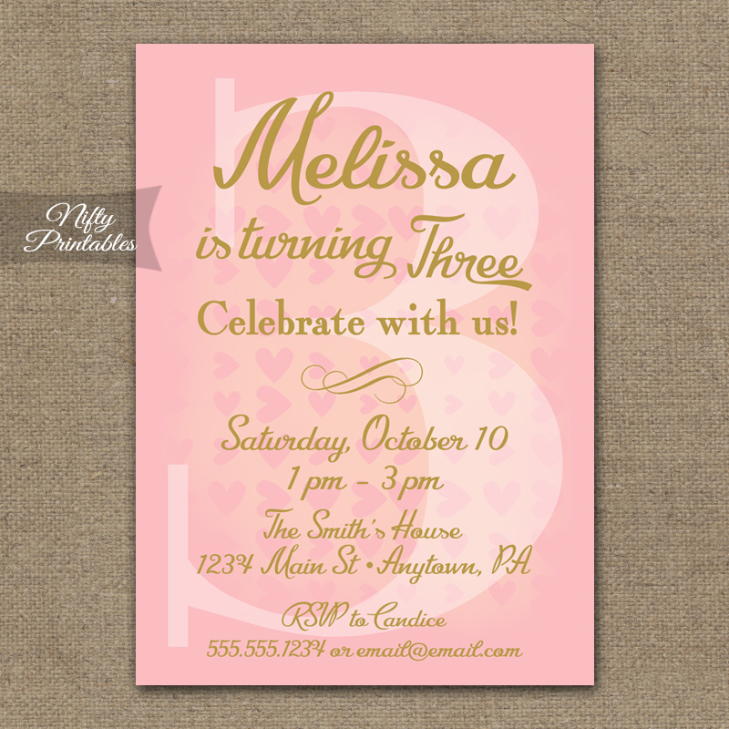 3rd Birthday Invitations - Pink & Gold Hearts