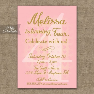4th Birthday Invitations - Pink & Gold Hearts