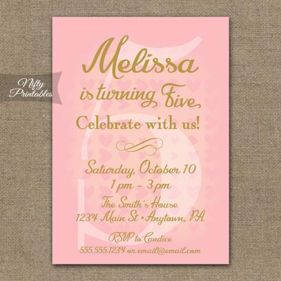 5th Birthday Invitations - Pink & Gold Hearts