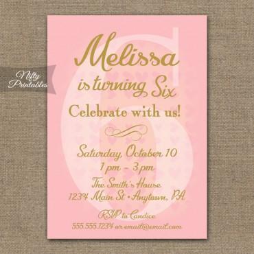 6th Birthday Invitations - Pink & Gold Hearts