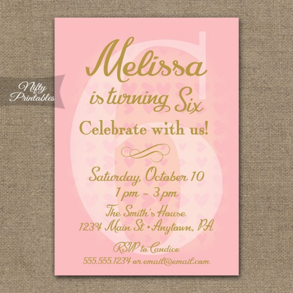 6th Birthday Invitations - Pink & Gold Hearts