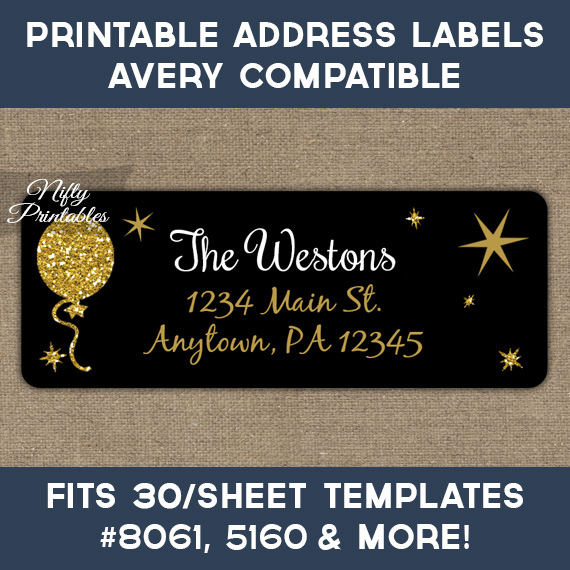 Printable Address Labels - Black Balloon - Avery Compatible