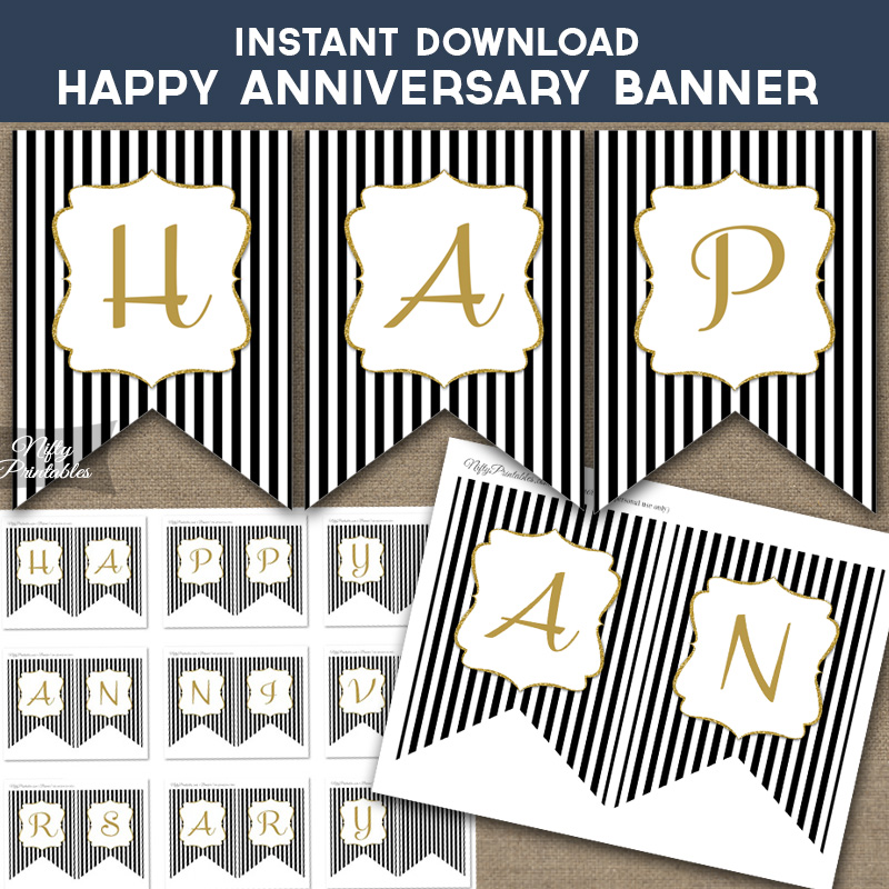 printable happy anniversary banner black gold