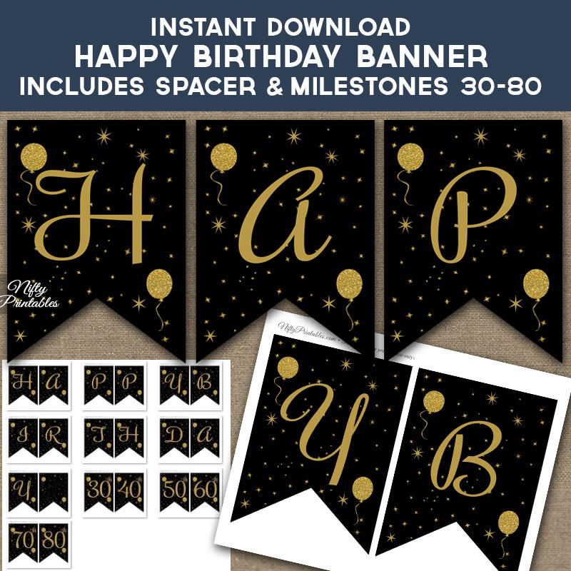New Printable Glitter Balloons Happy Birthday Banner - Black & Gold ZQ73