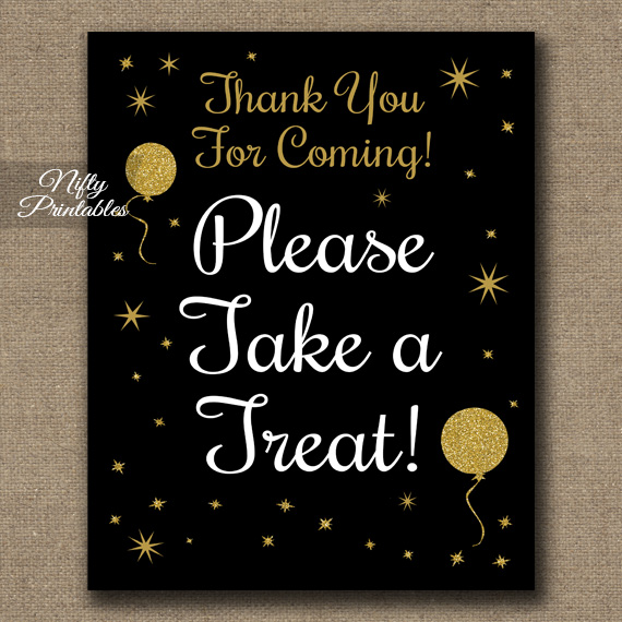 Take A Treat Sign - Black Glitter Balloons