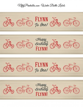 Bicycle Tricycle Printable Water Bottle Labels