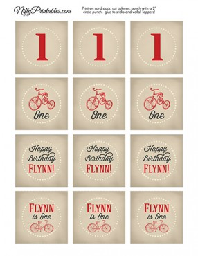Bicycle Tricycle Personalized Birthday Cupcake Toppers