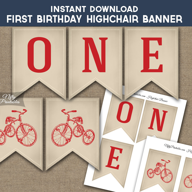 First  Birthday Highchair Banner - Bicycle