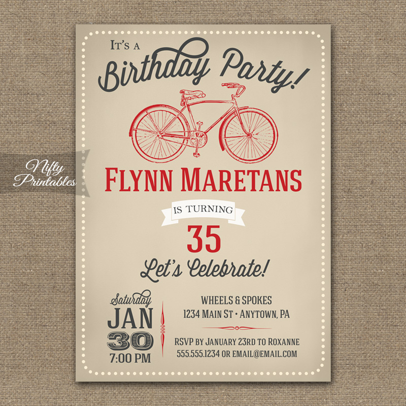 Bicycle Birthday Invitations