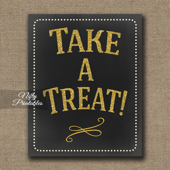 Take A Treat Sign - Chalkboard Gold