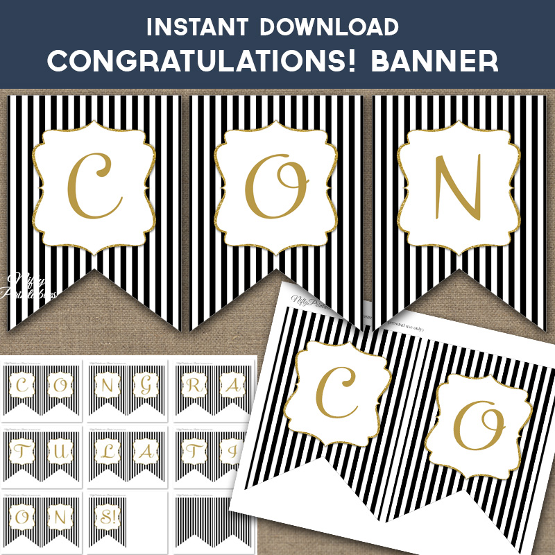 Printable Congratulations Banner - Black & Gold