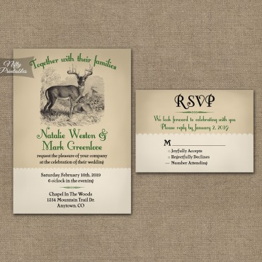 Woodland Deer Wedding Invitations