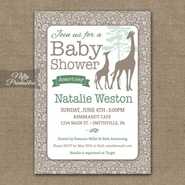 Giraffes Safari Gender Neutral Shower Invitations