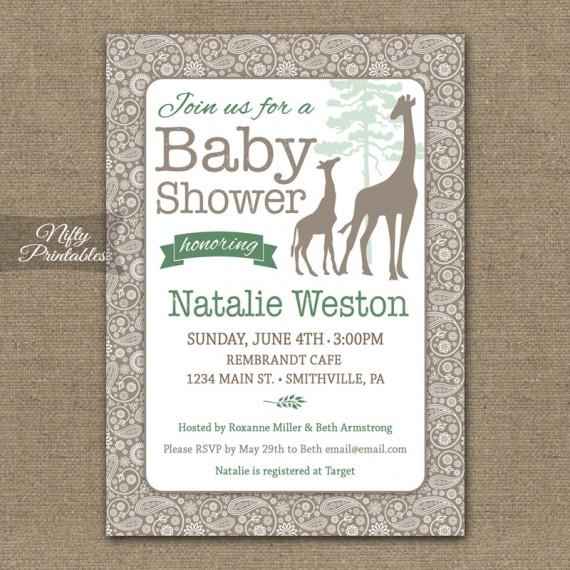 Giraffes Safari Gender Neutral Shower Invitations