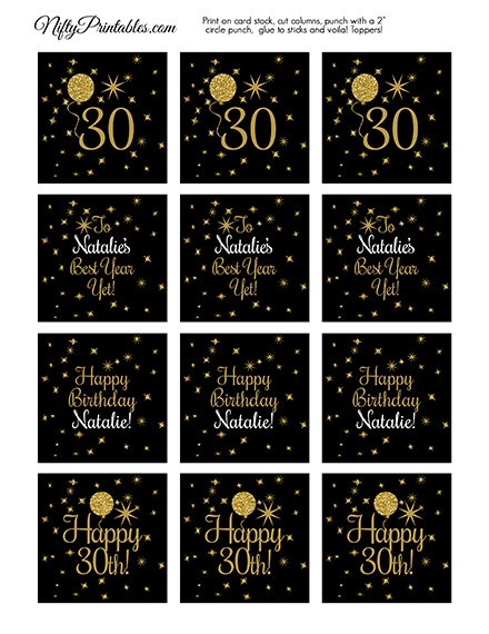 Black Gold Balloons Personalized Birthday Cupcake Toppers