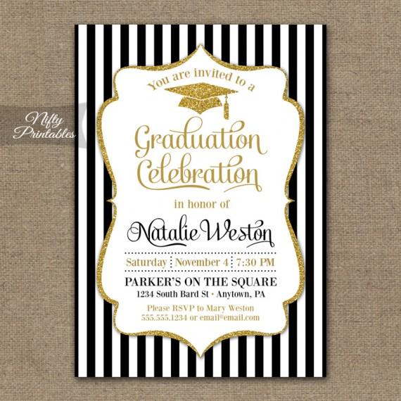 Black & Gold Graduation Invitations