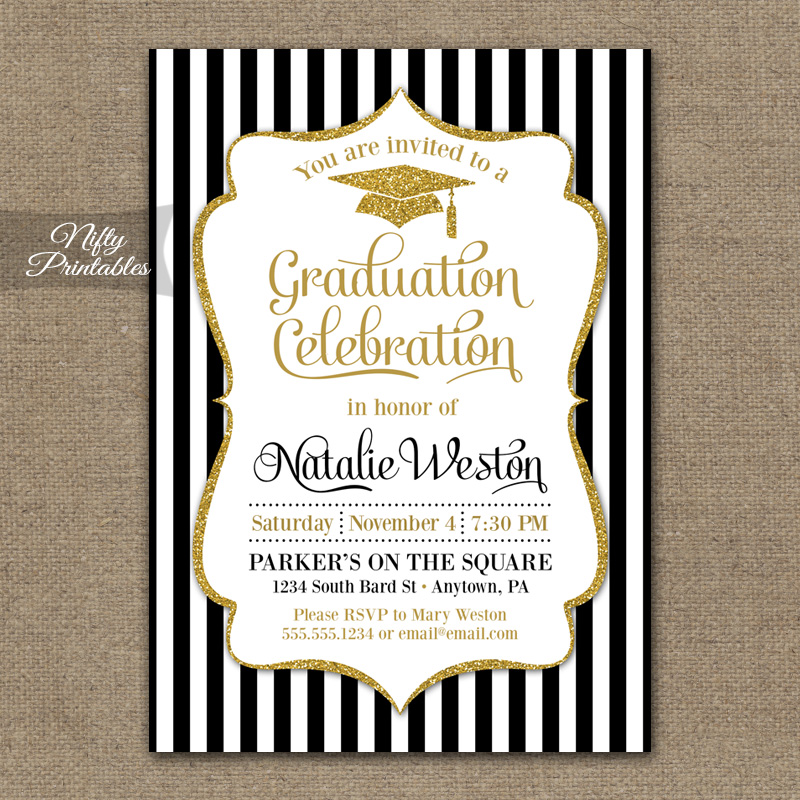 Black Gold Graduation Invitations Nifty Printables – Black and Gold Graduation Invitations