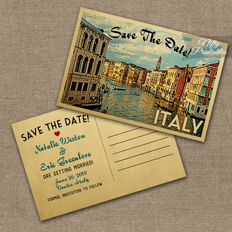 Italy Save The Date Postcards VTW