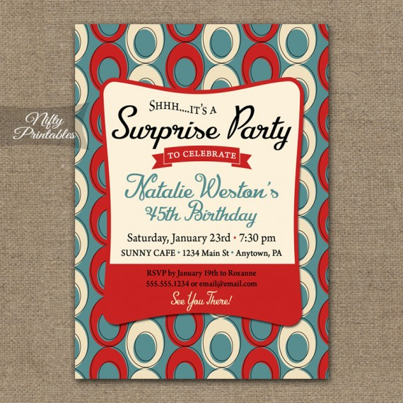 Mid Century Surprise Party Invitations - Blue Red Cream