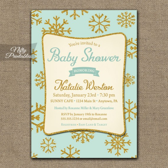 Winter Baby Shower Invitations - Mint Green Neutral