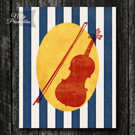 Violin Color Block Print