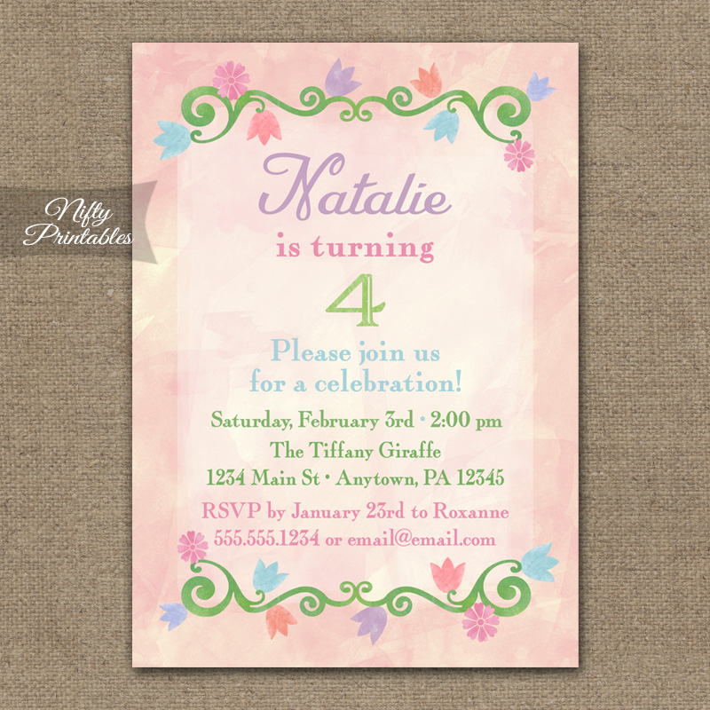 Pink Watercolor Floral Girls Birthday Invitations